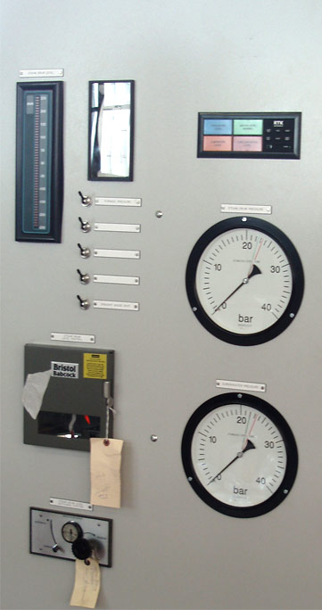 Steam operated instrument control panel for sugar cane process in Africa.