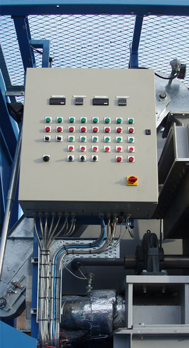 Control panel that operates mechanical equipment on a transportable skid.